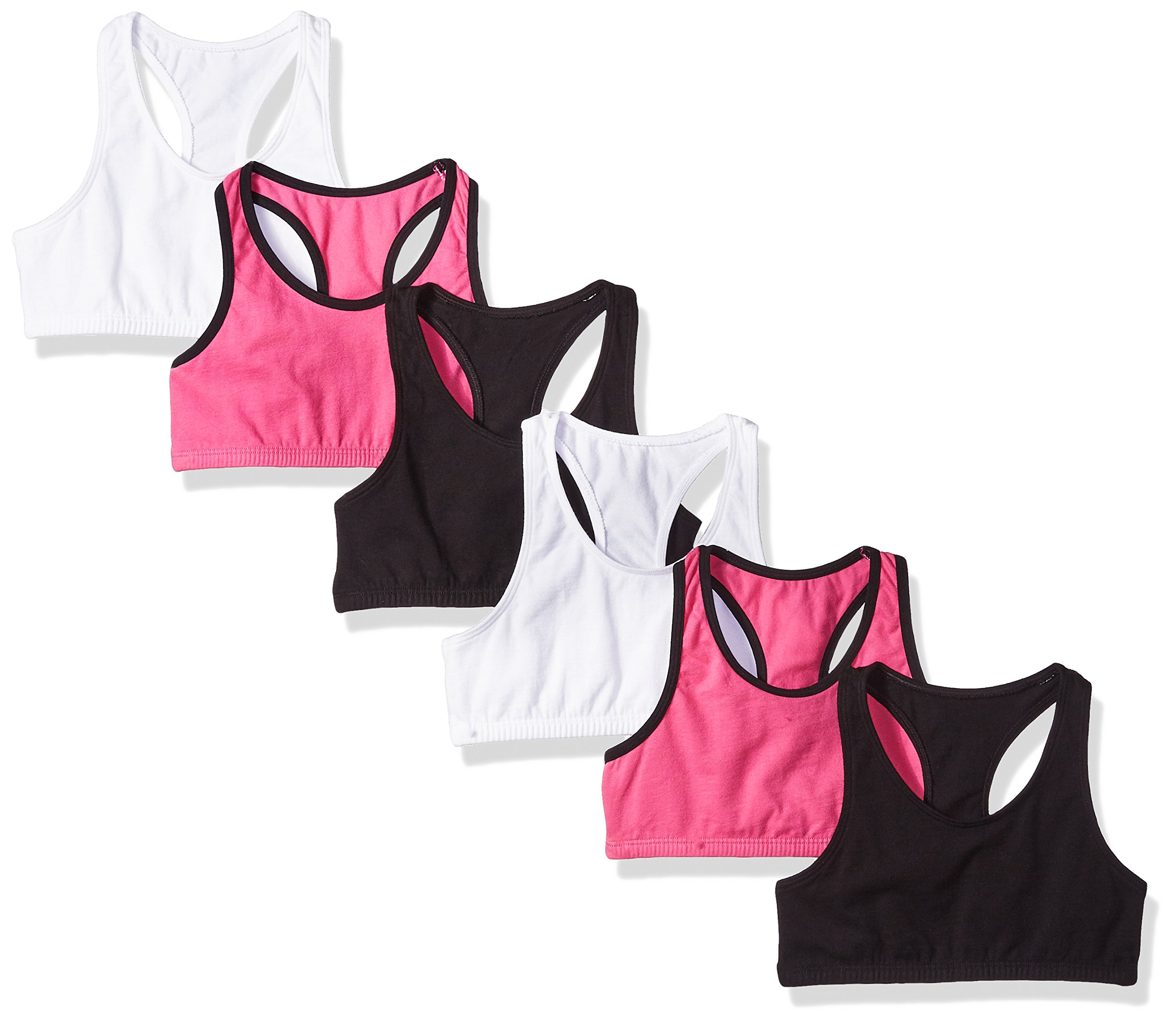 Fruit of the Loom Big Girls' Cotton Built-up Sport Bra, Passion Fruit with Black/White/Black-6 Pack, 32