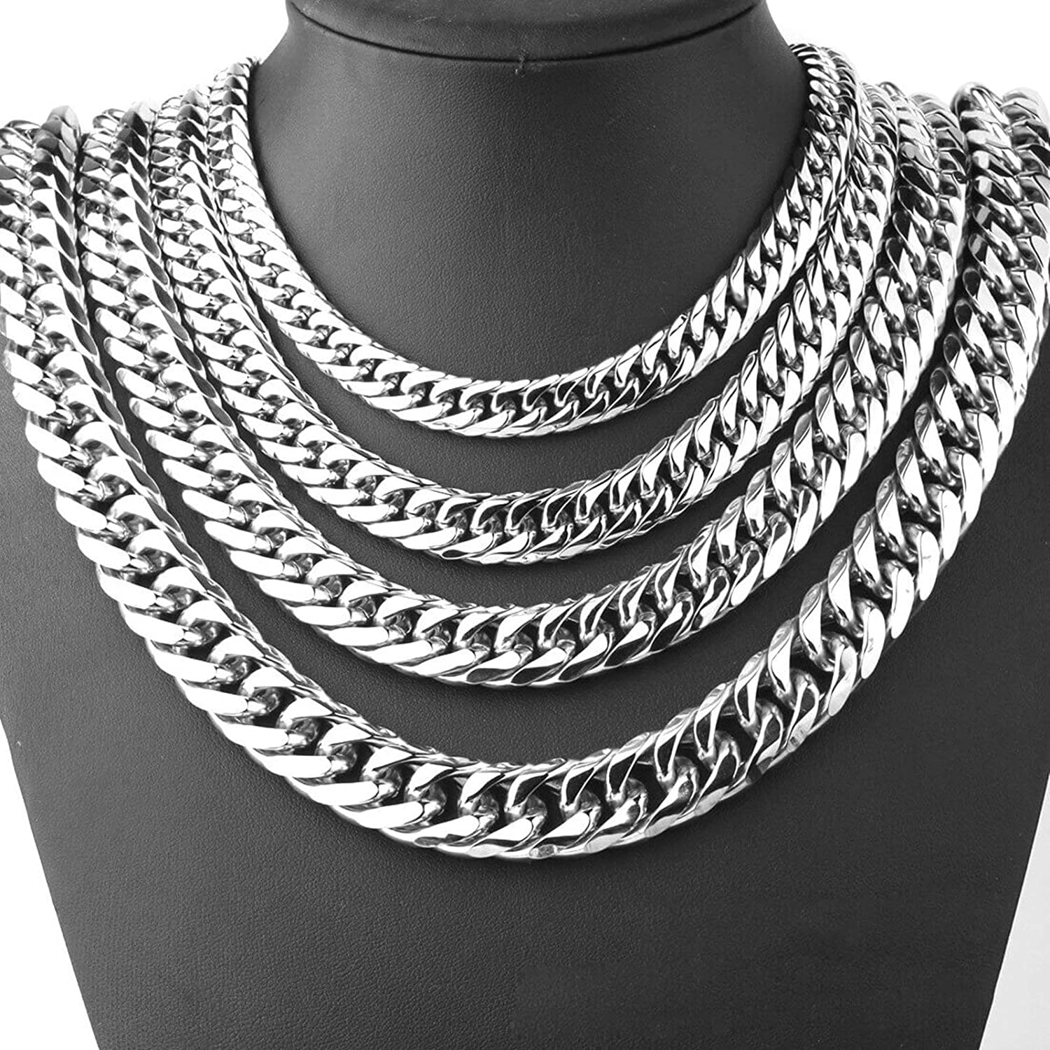 MoAndy Mens Chain Necklaces Stainless Steel Lobster-Claw 11-21Mm Curb Chain 24 Inch Silver