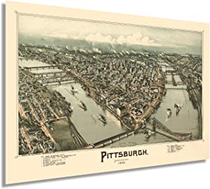 HISTORIX Vintage 1902 Pittsburgh Pennsylvania Map Poster - 24x36 Inch Vintage Pittsburgh Map Art - Panoramic Bird's Eye View of Pittsburgh Wall Art - Map of Pittsburgh City PA Wall Decor (2 Sizes)