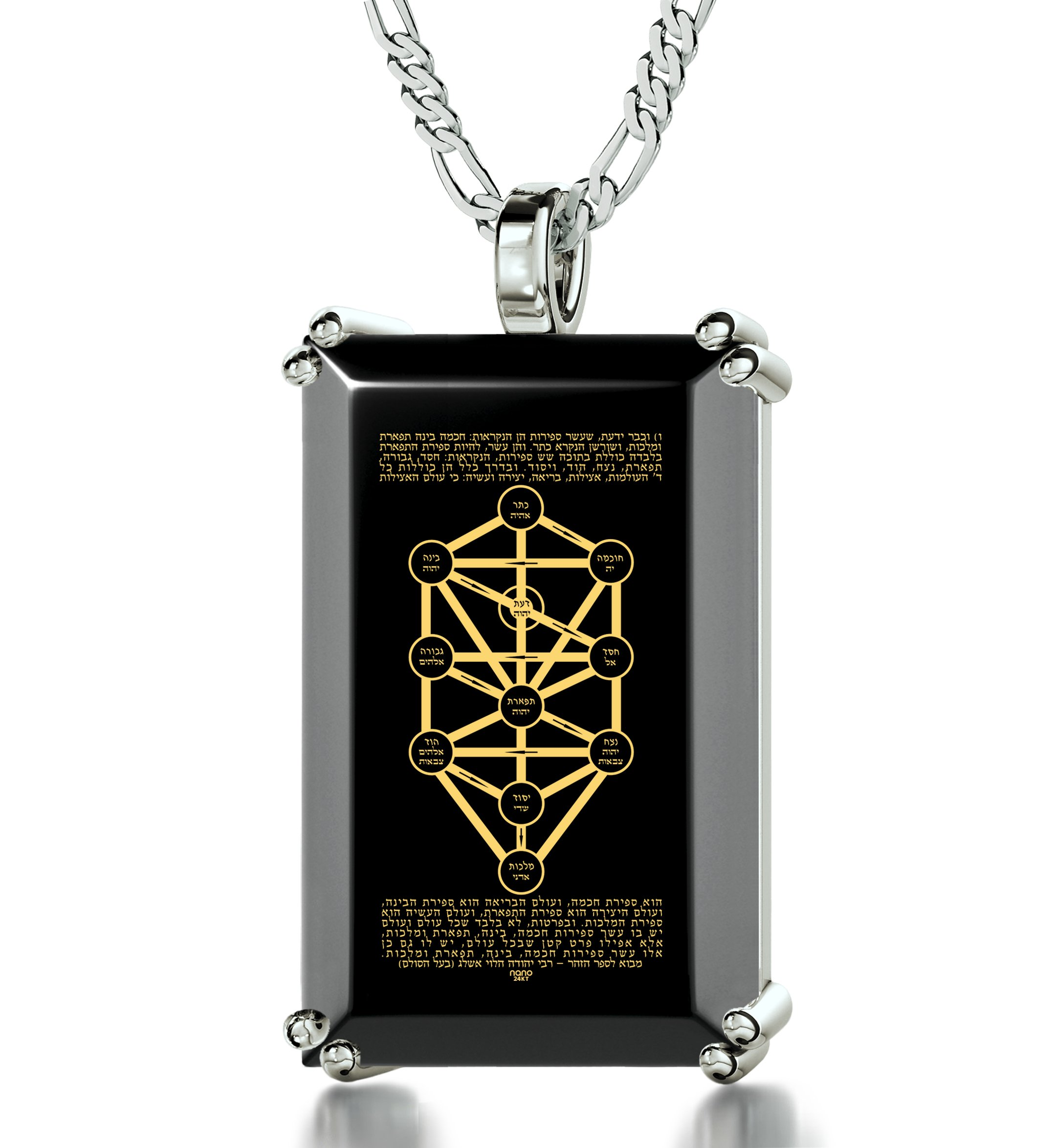 Jewish Jewelry – Kabbalah Tree of Life Necklace in 925 Silver Inscribed in Hebrew in 24K Gold with 10-Spheres on Onyx Stone