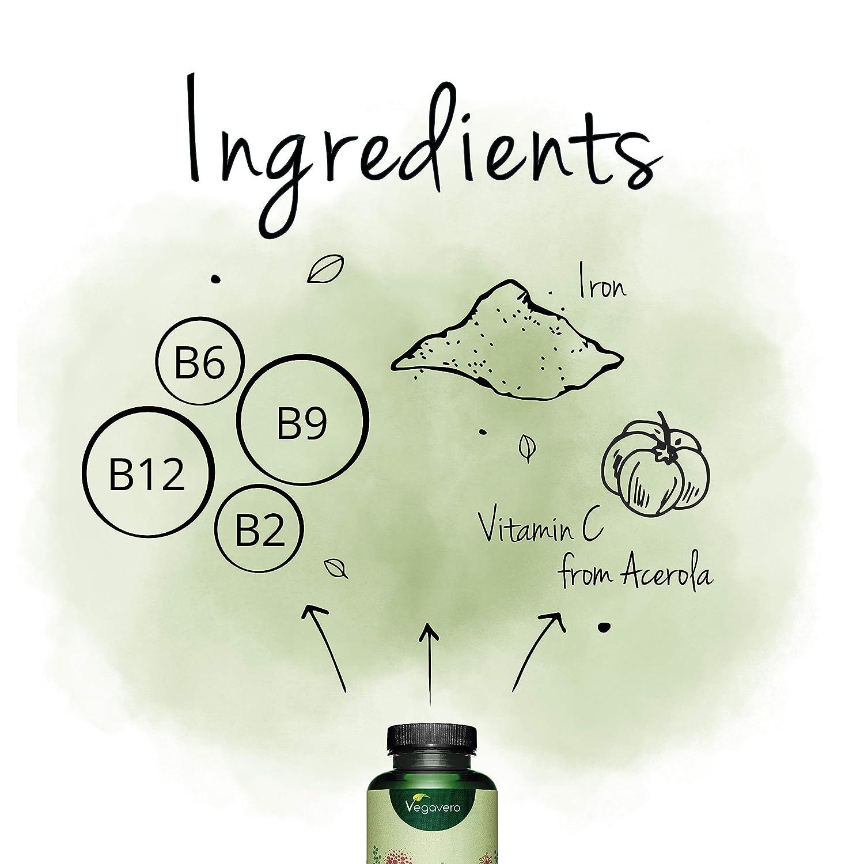 Hierro PLUS Vegavero® | Apto Para Veganos | Con Vitamina C + B12 + B2 + B6 + Ácido Fólico | 120 Cápsulas | Anemia + Deficiencia + Menstruación + ...