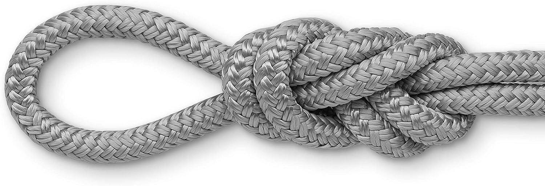 Grey, 3//4 x 40 Feet Montauk Rope Double Braid Dock Lines with Pre-Spliced Loop