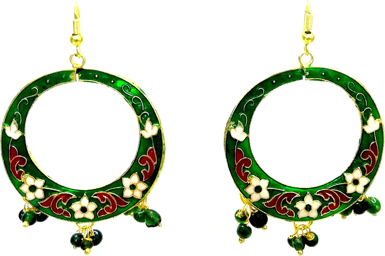 DESI HAWKER Meenakari Minakari Enamel Paint Golden Handmade Earring Bali Jhumki Jhumka Jewelry Afghan Chandbali Indian Drop Dangle Hoop NI-235