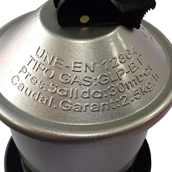 Kit Homologado de Manguera Butano y Regulador de Gas butano (CE Regulador con Certificación Europea) + 2 Abrazaderas + Llavero Regalo (Manguera 1.5mts ...