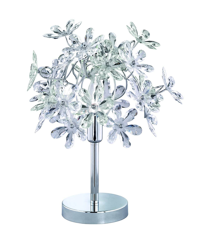 Reality Leuchten Tischleuchte Leavy 1 x E27 Schirm Kunststoff wei/ß R50461001 Metall Nickel matt