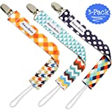 Pacifier Clip 3-Pack | 2-Sided Binky Clips for Baby Boys | Universal Strap/Holder/Leash for Soothies, Teethers, & Pacifiers by Bodacious Bambino