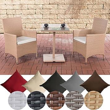 CLP Salon de Jardin Palermo I Salon de Jardin en Résine Tressée 2 Chaises 1  Table 2 Coussins I Salon de Jardin en Poly Rotin I Couleurs: Sable, ...