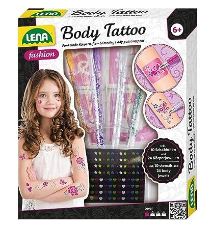 Lena 42433 Fashion Und Bastelset Body Tattoo Set Zum Stylen Mit 4 Glitzerfarbenen Stiften Und 10 Schablonen Für Körpertattoos Und 24 Juwelen