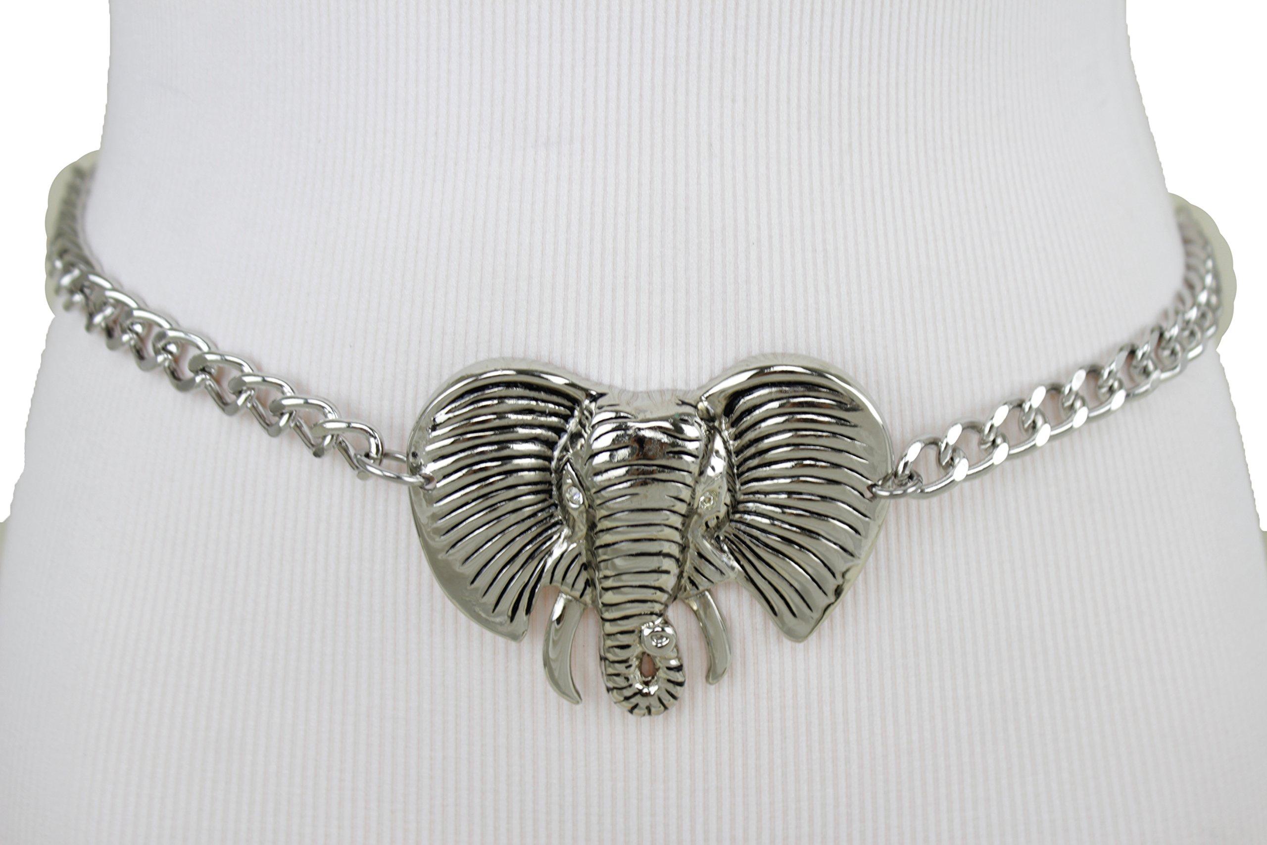 TFJ Women Belt Silver Metal Chain Links Hip High Waist Elephant Buckle Plus M L XL