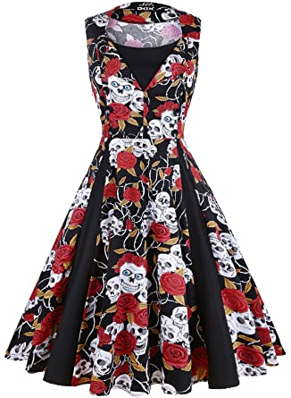 4b8ab76e360 OWIN Women s Polka Dot Retro Vintage 1950s Rockabilly Cocktail Party Swing  Dress (S
