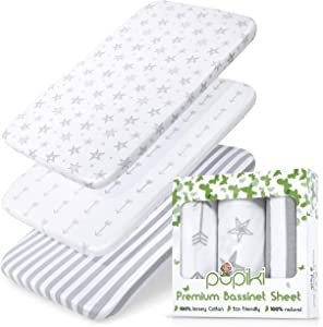PUPIKI Bassinet Sheets 3 Pack Set 100% Jersey Cotton Baby Sheets for Boys and Girls, Bassinet Sheet Oval Fitted, Cradle Sheets, Bassinet Mattress Sheets