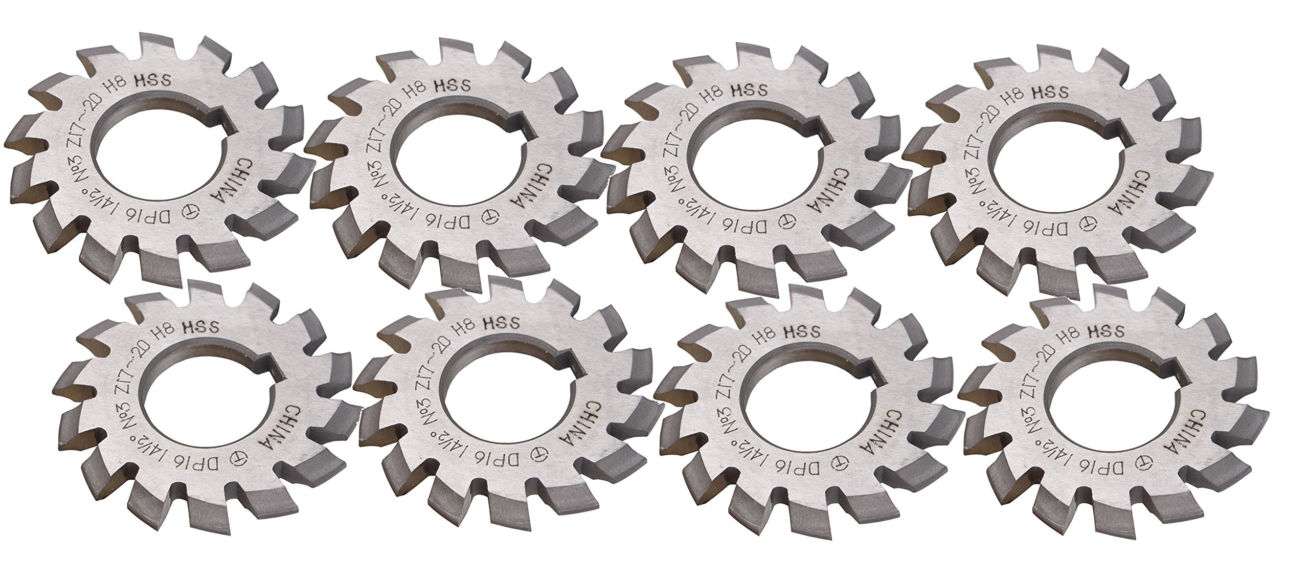 Zowaysoon 8Pcs Set DP12 Involute Gear Cutters PA14-1/2 Bore22 HSS 8H No1-8 Gear Milling Cutter by zowaysoon