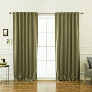 "Best Home Fashion Basic Thermal Insulated Blackout Curtains - Back Tab/Rod Pocket - Olive - 52"" W x 84"" L – (Set of 2 Panels)"