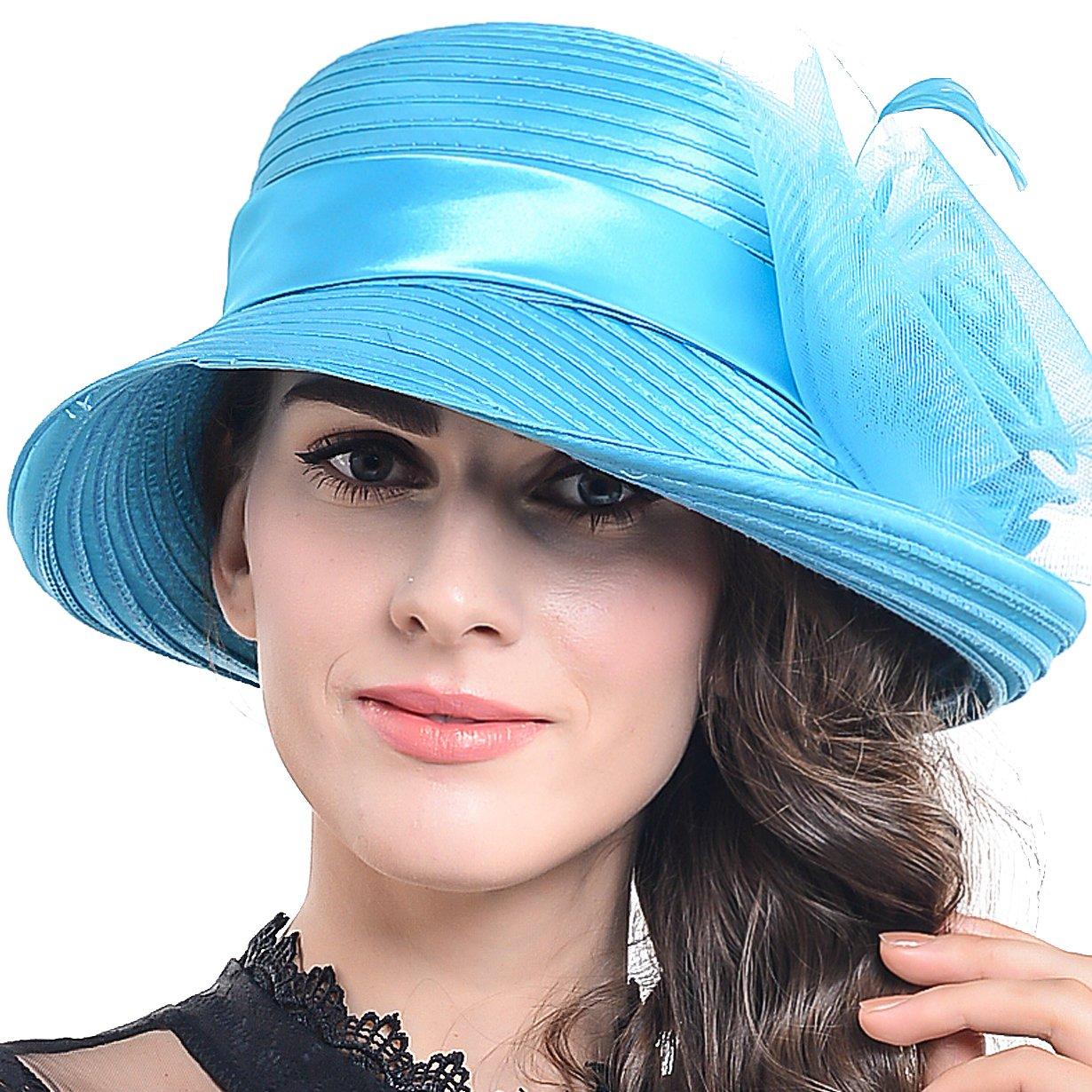 FORBUSITE Womens Asymmetry Stripe Church Derby Dress Hat S608 S608-HDUS-WH