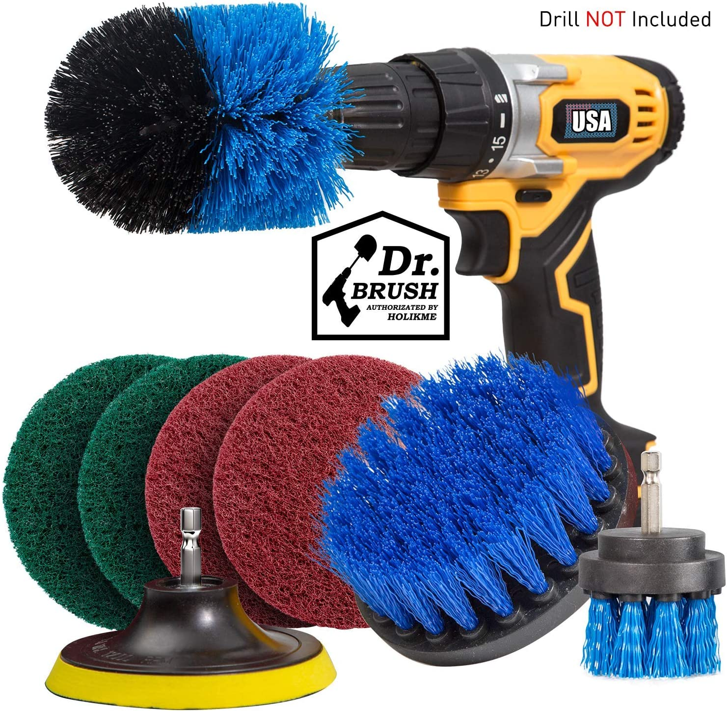 8 Piece Drill Brush Attachment Set Scouring Pads Power Scrubber Brush Scrub Pads Cleaning Kit - All Purpose for Bathroom Surfaces, Grout, Floor, Tub, Shower, Tile, Corners, Kitchen Cooktop, Pots