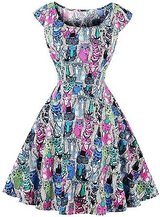 Joansam Womens Vintage Dress 2017 New Summer Short Sleeve O-Neck Cartoon Print Color Block