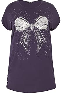 ec100f9f0ccf92 Yours Clothing Women's Plus Size Butterfly Sparkle T-Shirt with ...