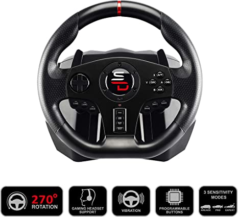 Subsonic Superdrive - volante de carreras SV700 con pedales, palancas de cambio y vibraciones. PS4, Xbox One, Switch, PC, PS3 (compatible con todos los juegos) (PS4): Amazon.es: Videojuegos