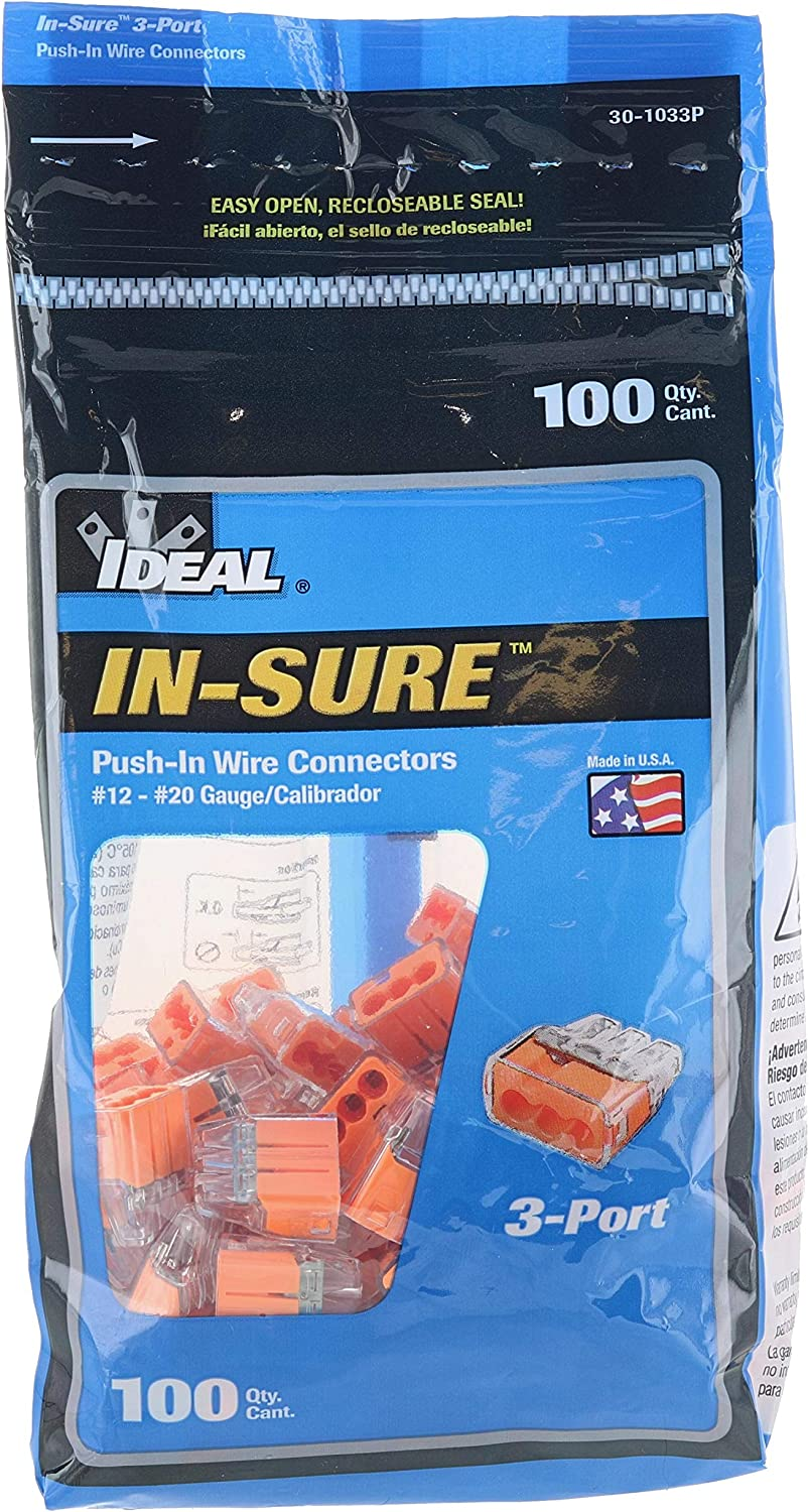 3 port push fit electrical connectors pack of 100