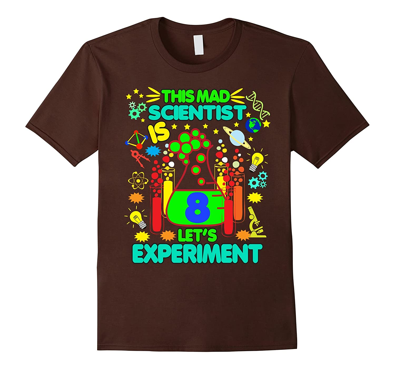 Birthday Shirt Age 8 Boys Girls Science Theme Party-TD
