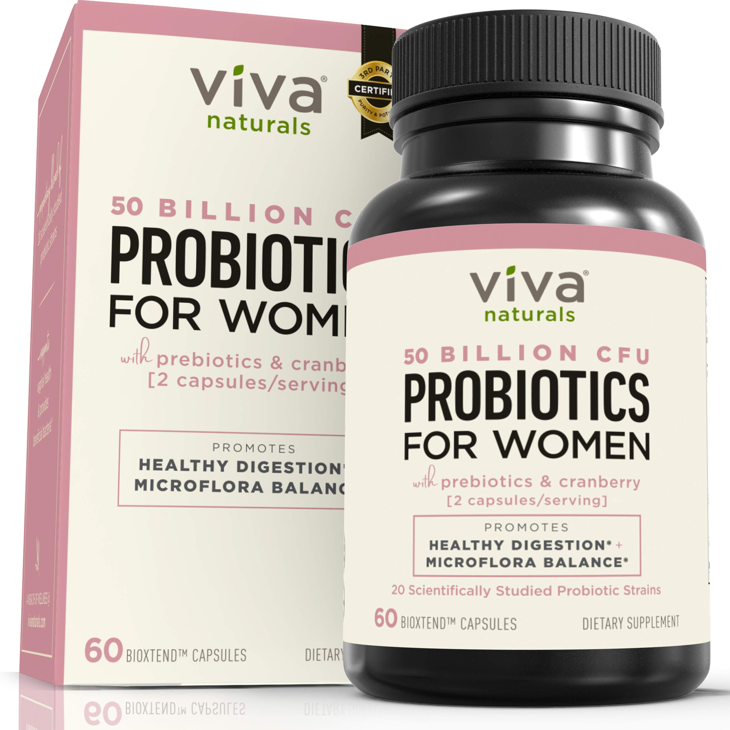 Probiotics for Women with 50 Billion CFU + 20 Strains, Complete Shelf-Stable Womens Probiotic Supplement with Prebiotic and Cranberry to Support Stomach, Digestive System & Vaginal Health, 60 Capsules by Viva Naturals