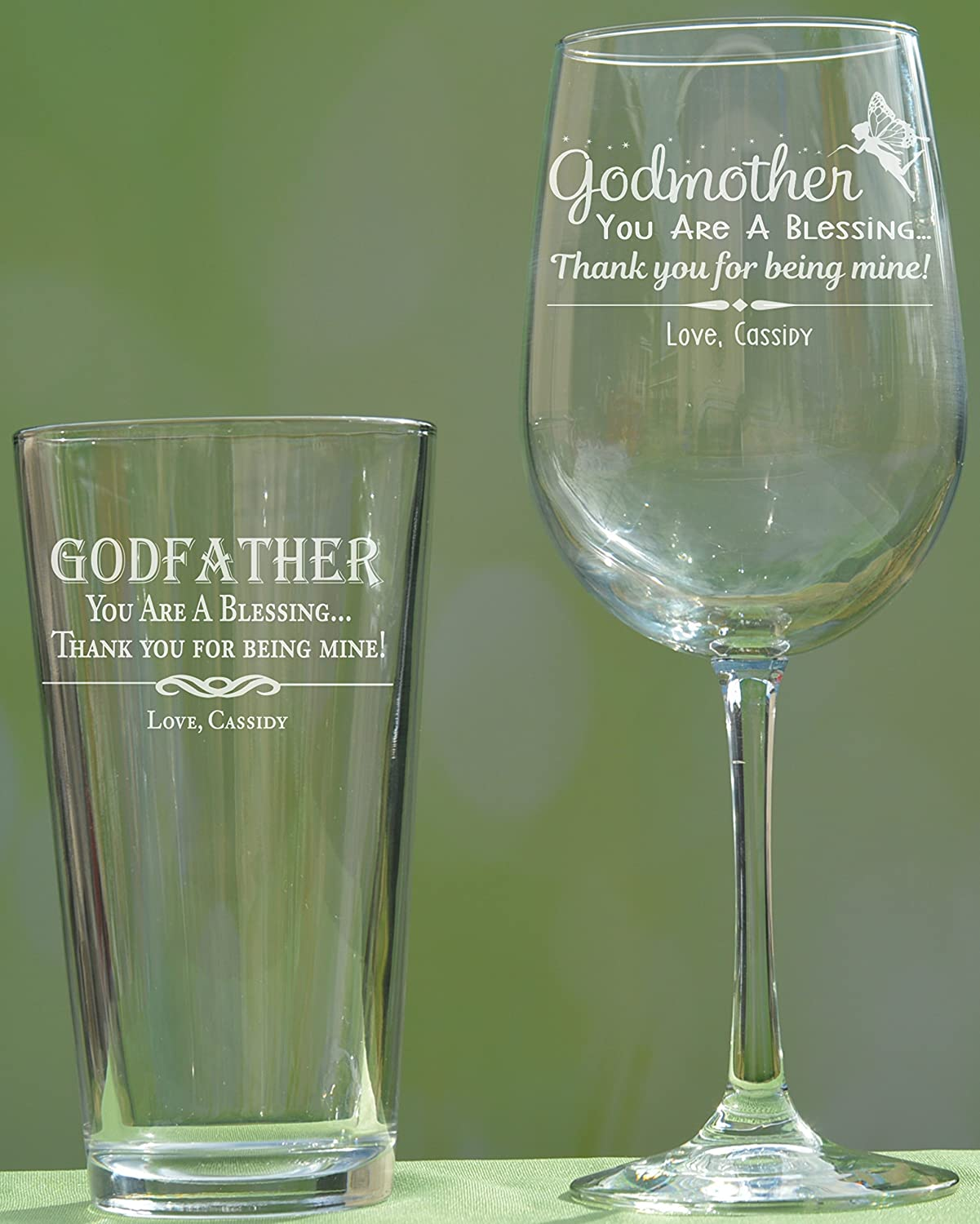 Personalized Godparent Gift, Godfather Pint Glass, Godmother Wine Glass, Baptism Gift for Godparent, Christening