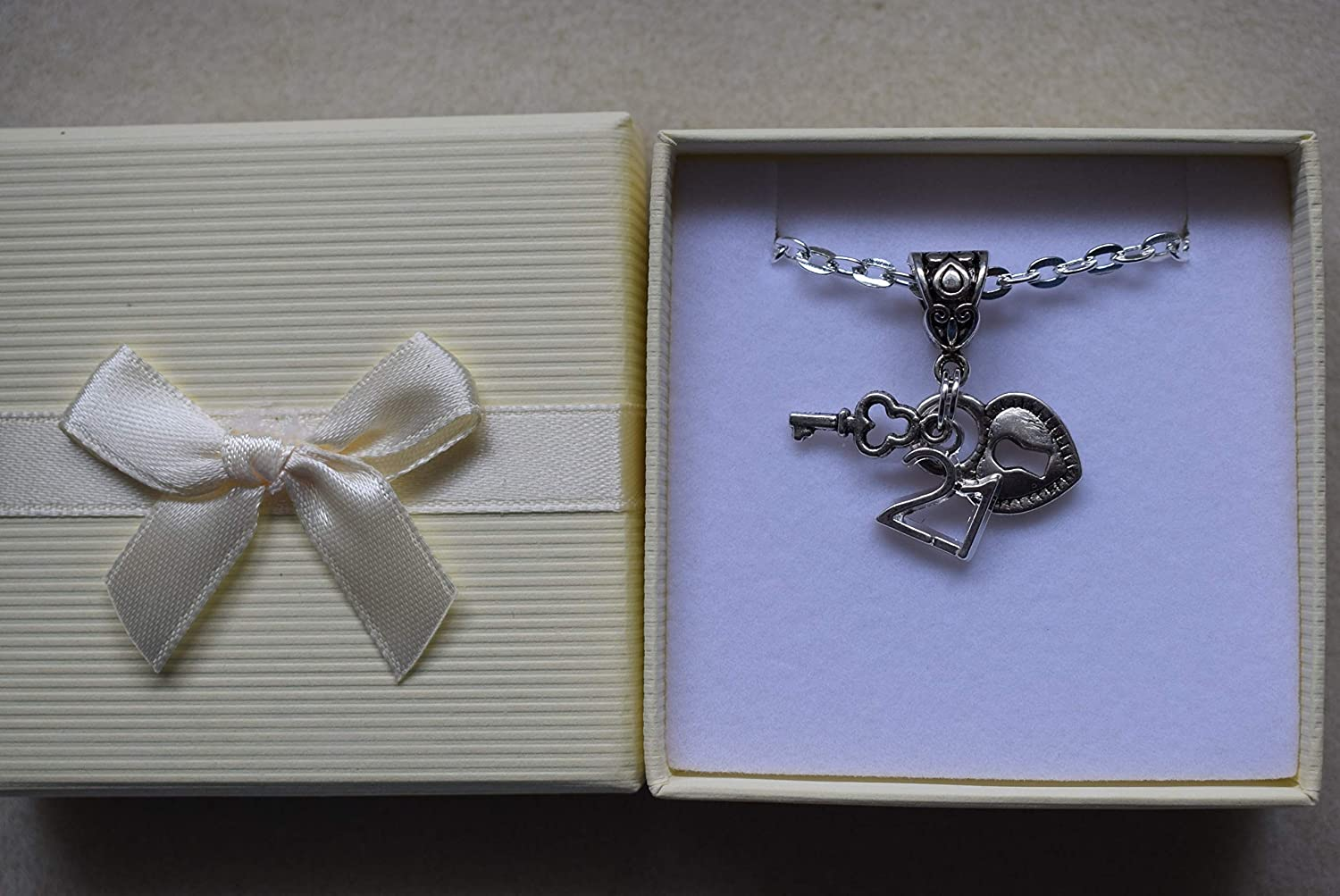 16th 18th 21st Necklace Lock /& Key Silver Plated Gift Boxed