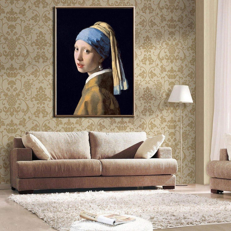 Chica con un pendiente de perla reproducción de pintura al óleo sobre lienzo de Johannes carteles e impresiones cuadros de arte de pared para habitación 70x100cm sin marco