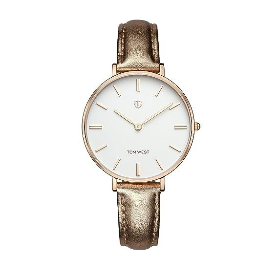 Tom West - Reloj Mujer - La Pimpante - piel Pink brillante: Amazon.es: Relojes