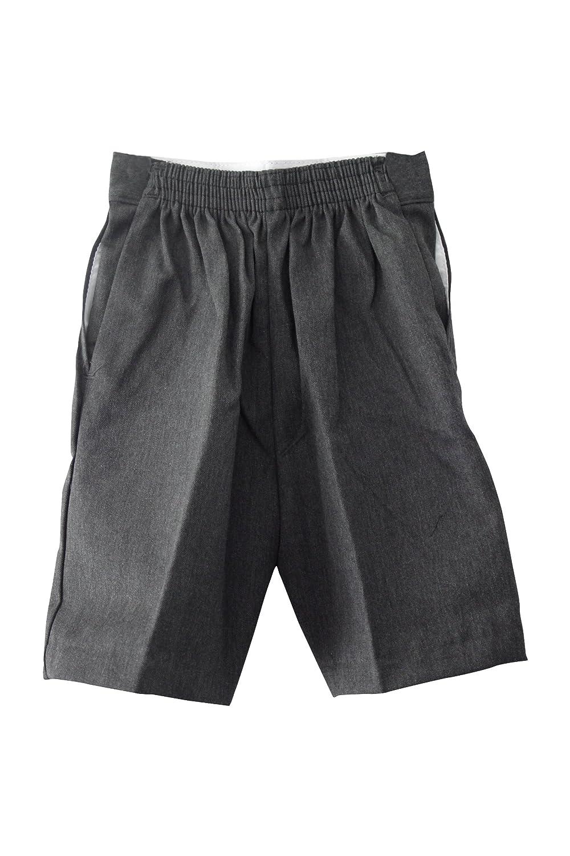 5-6yrs=w20relaxed 4D-Uniforms Boys School Uniform PULL-UP shorts-Grey