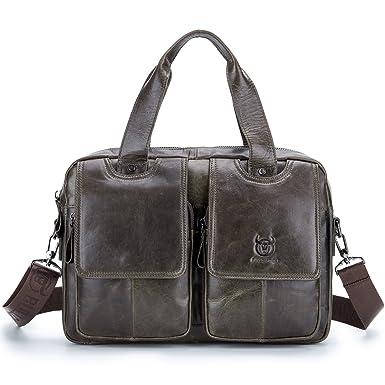 1662777f7327 Bull Captain Briefcase for Men Brown Genuine Leather 15 inch Laptop Handbag  Messenger Shoulder Bag for