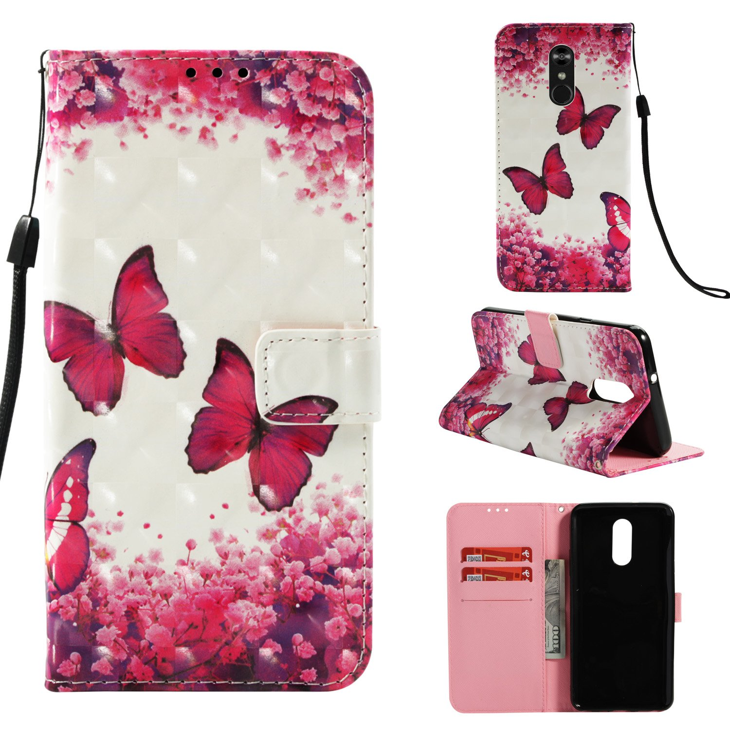 Shinyzone Wallet Flip Cover for LG Stylo 4/LG Q Stylus,Magenta Butterfly 3D Colorful Painting 2 in 1 Book Style Leather Case with Card Holder and Magnetic Buckle Stand Cover