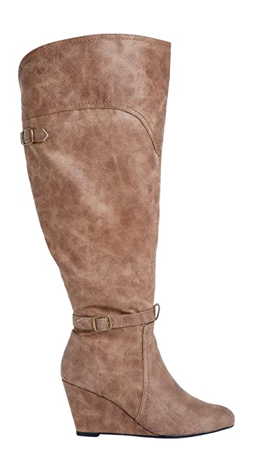 Womens Faux Leather Calf Wedge Boots