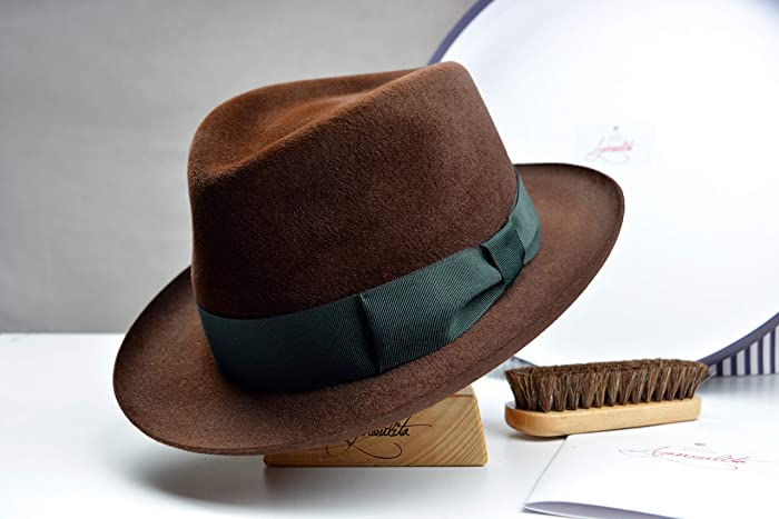 1f7c28aad0f28 Amazon.com  The Andolini - Velour Fur Felt Homburg Fedora Hat - Medium Brim  - Men Women  Handmade