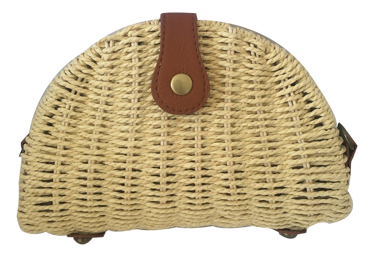 Hycurey Crossbody Straw Purse and Handbag Handmade Crossbody Bags Summer Beach Sea Shoulder Bag Beige