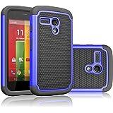 Motorola Moto G Case, Moto G 1st Gen Case, Tekcoo(TM) [Tmajor Series] Shock Absorbing Hybrid Rubber Plastic Impact Defender Rugged Slim Hard Case Cover For Moto G 3G / 4G LTE (Blue / Black)