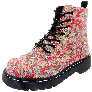 T.U.K. Womens Rainbow Sprinkles Vegan Anarchic Combat Boots T2239 ...