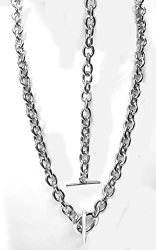 af6312deb5e9f Amazon.com: Tiffany Style Link Chain Necklace in Sterling w/Toggle ...