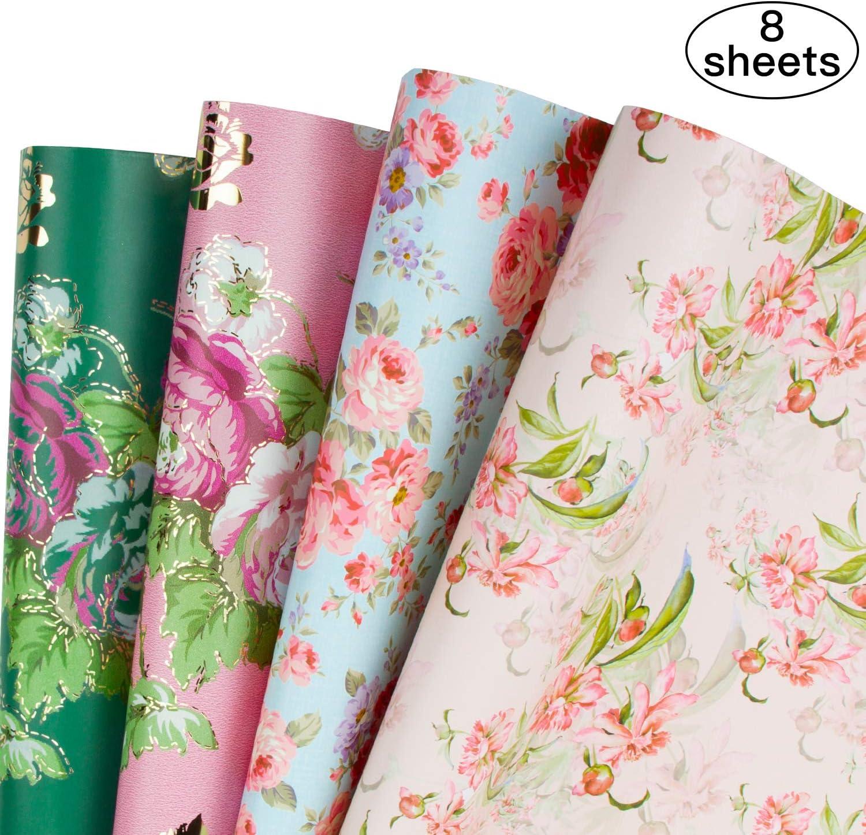 RUSPEPA Hojas De Papel Para Envolver Regalos - Boda De Diseño Floral, Cumpleaños, Día De La Madre, Felicitaciones - 8 Hojas Plegadas - 50 X 70 cm
