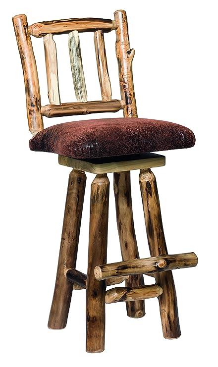 Amazoncom Aspen Log Swivel 24 Barstools With Padded Seats Set