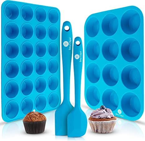 Cases Muffin Molds for Baking Cupcakes 12 Pack Reusable Silicone Baking Cups Small Cupcake Molds BPA Free Muffins Trays
