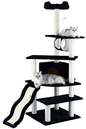GO Club de Mascota Gato árbol Muebles, 38 x 26 x 178 cm, Color Negro: Amazon.es: Productos para mascotas