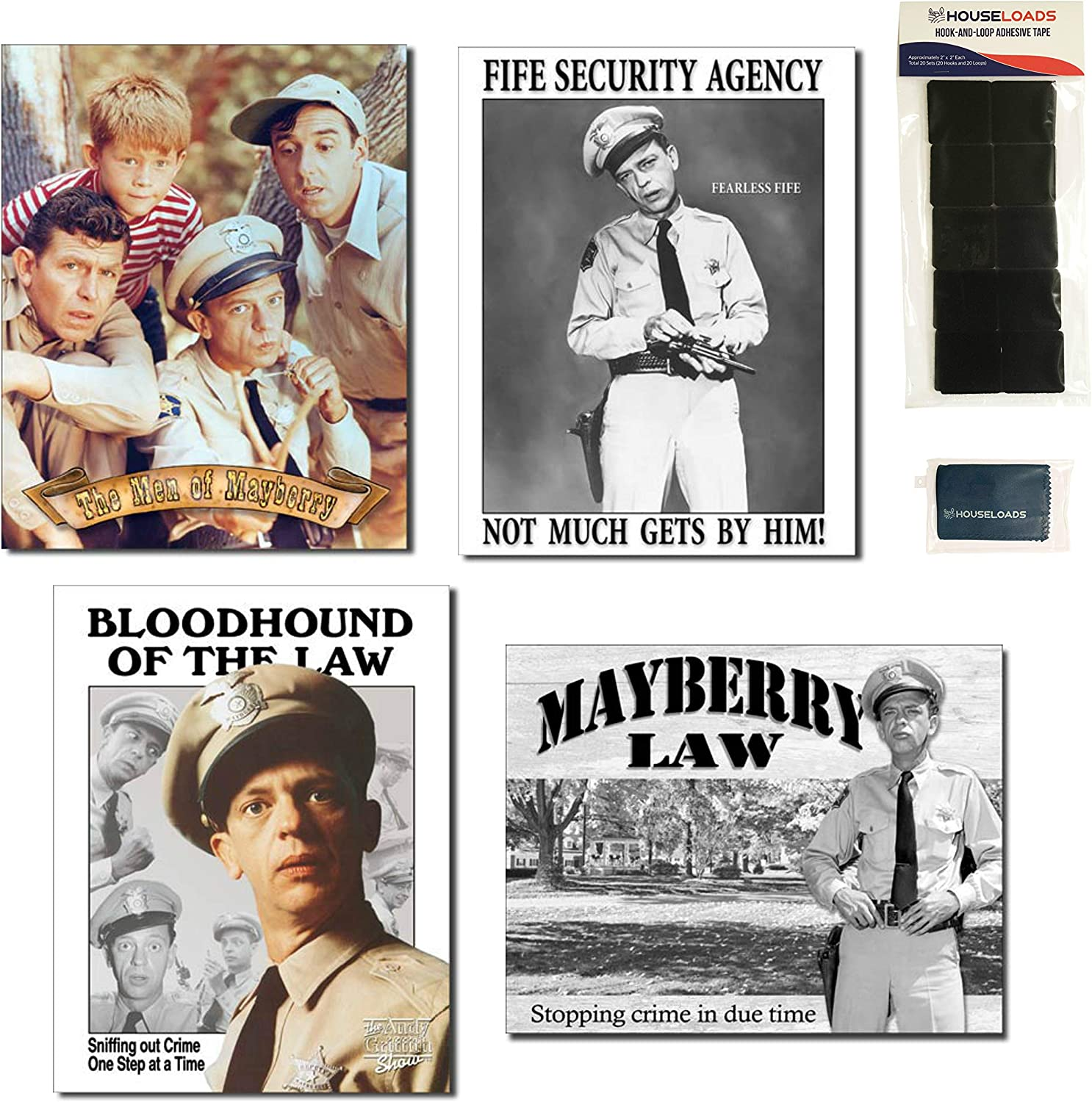 Andy Griffith Barney Fife Tin Sign Bundle - Men of Mayberry, Fife Security Agency, Bloodhound of The Law, Mayberry Law, 20 Sets of Hook-and-Loop Adhesive Tape and 1 Micro Fiber Cleaning Cloth