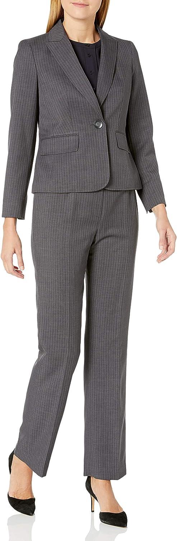 Le Suit supreme Women's 1 Button Peak Lapel Wide Pant Fashionable Stripe Dotted
