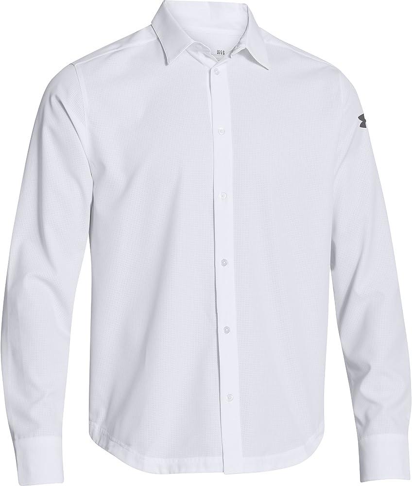 Under Armour Camisa de manga larga con botones de Under Armour Ultimate (peque?a, blanca): Amazon.es: Deportes y aire libre