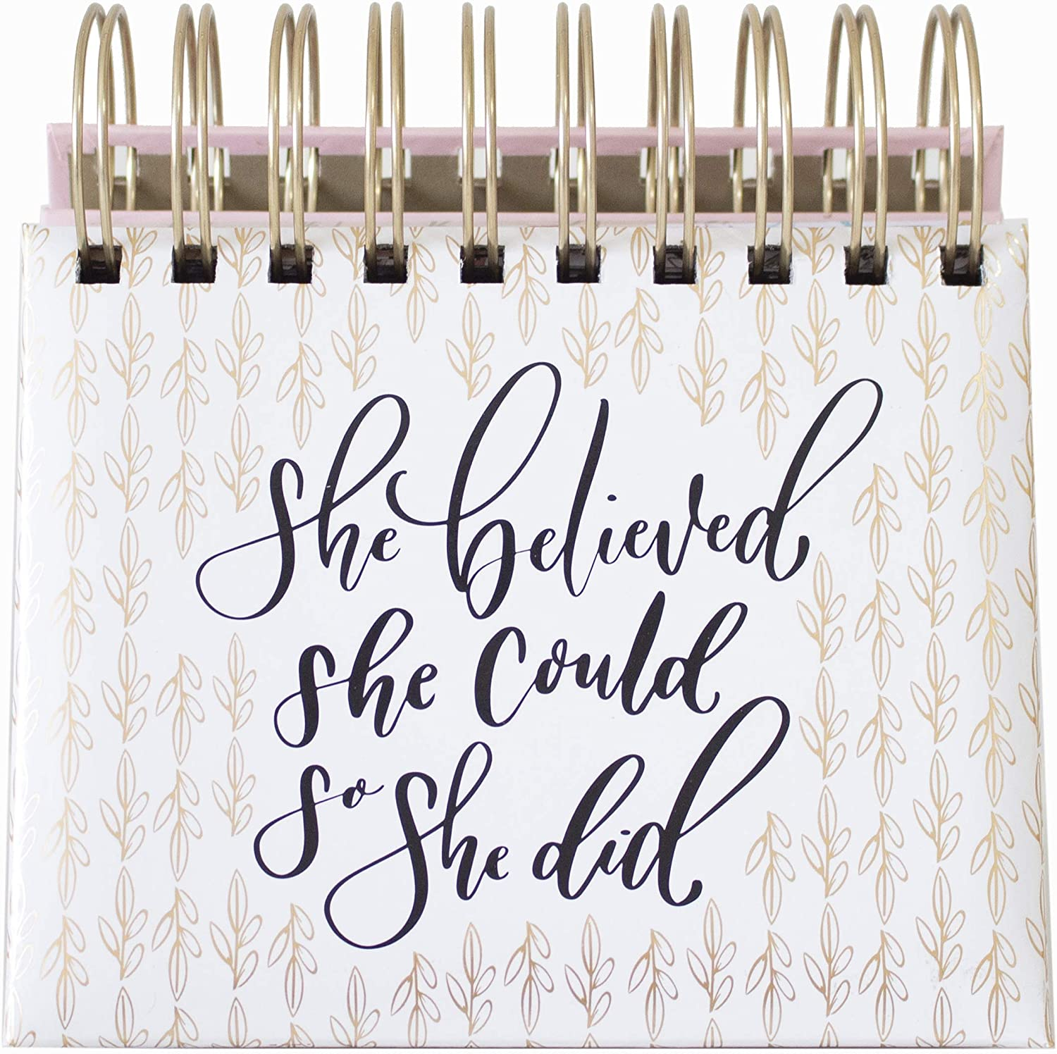 """bloom daily planners Undated Perpetual Desk Easel/Inspirational Standing Desktop Flip Calendar - (5.25"""" x 5.5"""")""""She Believed She Could So She Did"""" by Writefully His"""