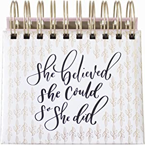 "bloom daily planners Undated Perpetual Desk Easel/Inspirational Standing Desktop Flip Calendar - (5.25"" x 5.5"")""She Believed She Could So She Did"" by Writefully His"