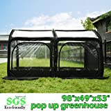 """Quictent Pop up Greenhouse Passed SGS Test Eco-friendly Fiberglass Poles Overlong Cover Six Stakes 98""""x49""""x53"""" Mini Portable Green House (Black)"""