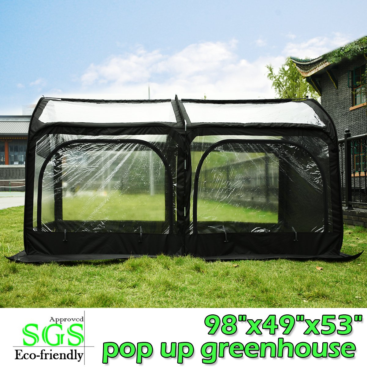 Quictent Pop up Greenhouse Passed SGS Test Eco-friendly Fiberglass Poles Overlong Cover Six Stakes 98''x49''x53'' Mini Portable Green House (Black) by Quictent