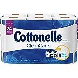 Cottonelle CleanCare Toilet Paper, 12 Double Rolls, Strong Bath Tissue